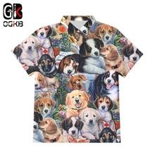 Dog-Button-Shirts Harajuku-Top Short-Sleeve Summer New Hip-Hop Cool Cute Print 3D OGKB