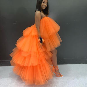 Tulle Skirts Saias Orange Extra-Puffy Long Women Plus-Size High for Gilrs Birthday-Party