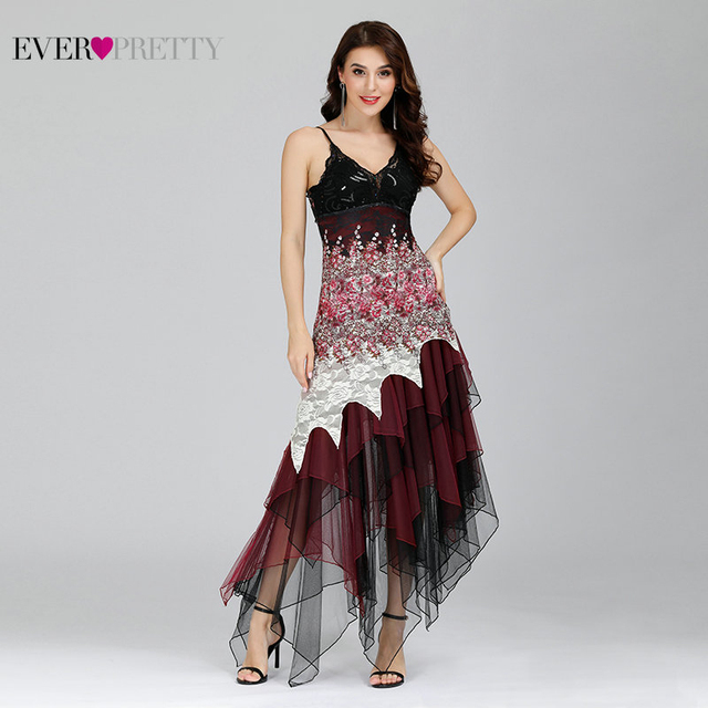 Elegant Cocktail Dresses Ever Pretty EP6212B Sexy V-neck Black and White Lace Long Wedding Plus Size Party Dress vestido coctel