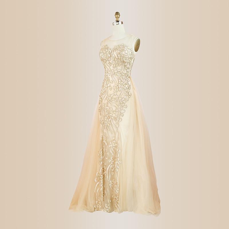 Robe Fiesta Largo or Bling robes De soirée Champagne pailleté a-ligne élégante perlée robes De bal à manches longues robe De Festa