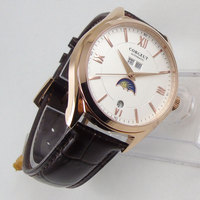 40mm corgeut Weiß Dial Month Date Rose Golden Automatic Movement mens Watch