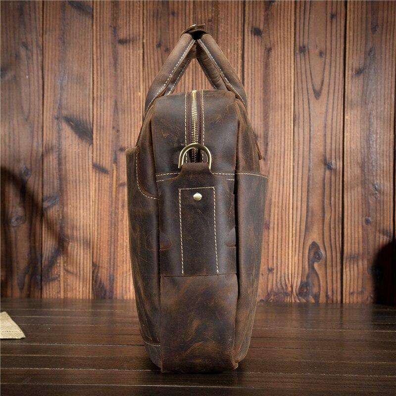 """Prawdziwej skóry mężczyzna teczki 16 """"duża pojemność torba na laptopa rocznika szalony koń skórzane pracy torebka na ramię torba na ramię w Teczki od Bagaże i torby na  Grupa 2"""