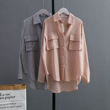2019 New Autumn Women Shirts Full Sleeve Plaid Turn-down Collar Blouse Shirt Gray Pink 5