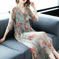 Silk Long Dress Women Prin Floral Summer Dress Elegant Party Dresses Beach Ladies Office Wear Dresses Vestidos LWL1524