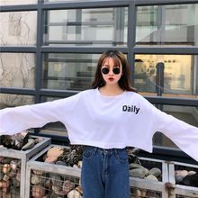 2019  New Autumn Women T-shirt Slim Round Collar Letter Print Loose Long Sleeve Casual Simple Wild Short Style T-Shirt цена в Москве и Питере