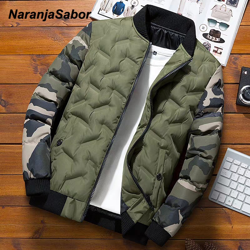 NaranjaSabor Winter Mens Bomber Jacket Warm Windproof Overcoats Male Camouflage Patchwork Fashion Parkas Brand Clothing N633