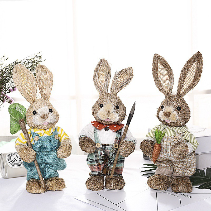 Artificial Straw Rabbit Home Garden Rabbit Decoration Easter Theme Party Decor Easter Filled Eggs Hunt Party Supplies