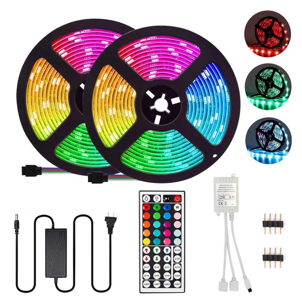 LED Strip Lights 10M 300 LEDs SMD 5050 RGB Strip Lights IP65 Waterproof  Light with 44 Keys IR Remote Controller  amp  12V 5A Power