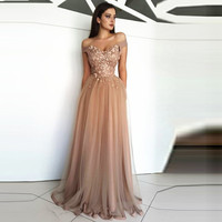Champagne Prom Dress 2019 A line Off The Shoulder Tulle Appliques Sexy Formal Long Prom Gown Evening Dresses Robe De Soiree