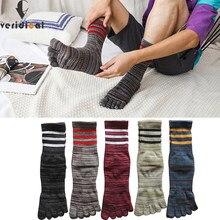 Veridical 5 pares/lote grande tamanho cinco dedo meias homem algodão colorido listrado negócio compressão vestido meias longas com dedos do pé