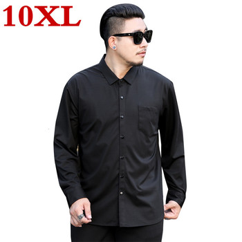 new plus size 10XL Mens Long Sleeve  Solid Oxford Dress Shirt with Left Chest Pocket High-quality Male Casual Tops Button Shirts