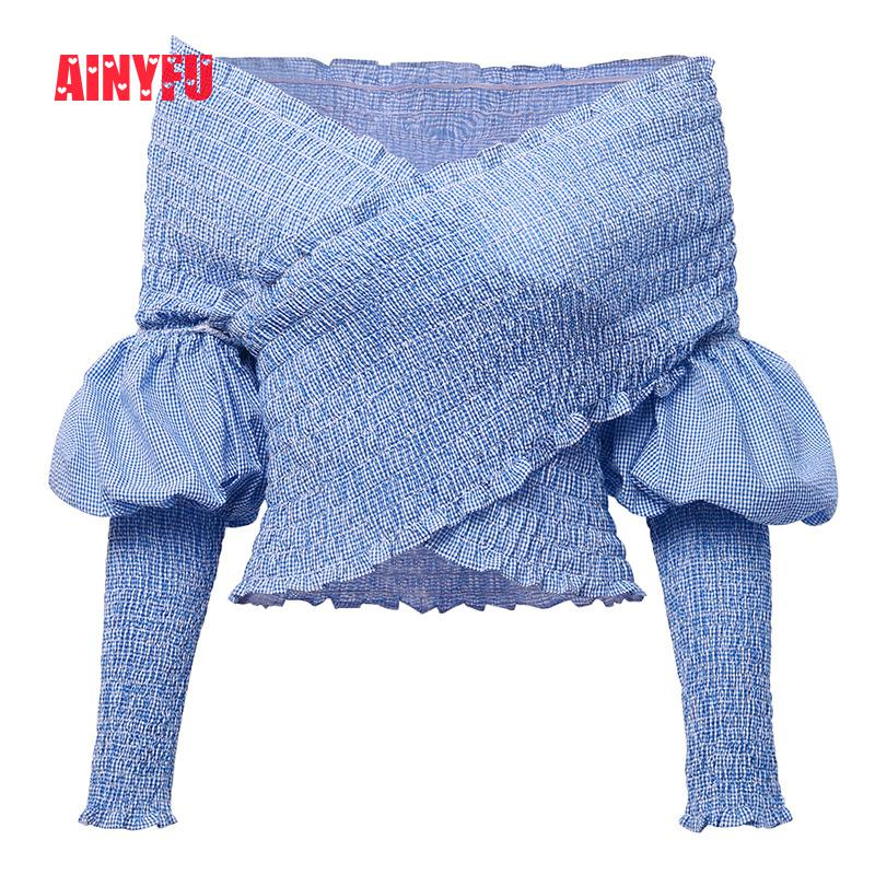 Ainyfu Fall V hals Solid Lange Bubble Mouw T shirt Vrouwen Streetwear Slanke Korte Kleding Femme Vouw Off Shoulder Crop dames Tops - 3