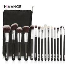 MAANGE 6 15Pcs Makeup Brushes Set Powder Foundation Eyeshadow Cosmetic Make Up Brush With PU Leather Case Beauty Tool Kit