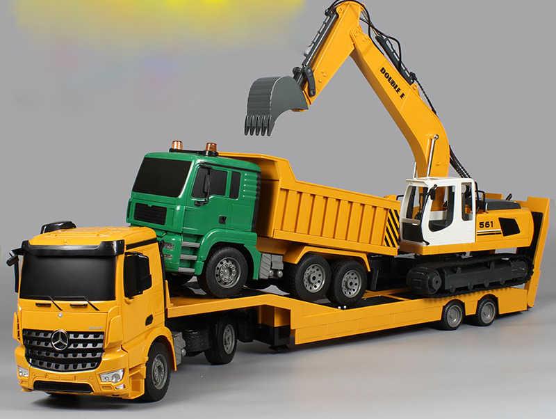 RC שטוחה משאית סמיטריילר 1:20 2.4G הנדסת טרקטור שלט רחוק בניית Diecast דגם ילדים צעצועי אלקטרוניקה