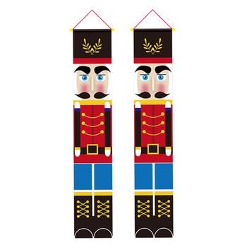 1 Pair Christmas Decoration Walnut Soldier Door Curtain Hanging Cloth Door Sign Front Door Ornament Christmas Party Supplies for