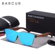 Barcur óculos de sol com pernas de madeira, óculos de sol masculino polarizado com pernas de madeira noz preta, para homens