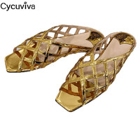 Gold Leather Fishnet Flat Beach Slippers Women Peep Toe Summer Mules Hollow Out Shoes Woman Cozy Runway Casual Slippers Woman