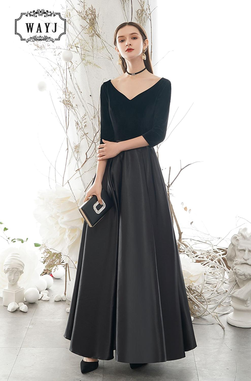 New Arrive Simple Sexy Evening Dresses 2020 Slim Tight A-Line Ladies Prom Dress High Quality Satin 3/4 sleeve Evening Gowns 2020