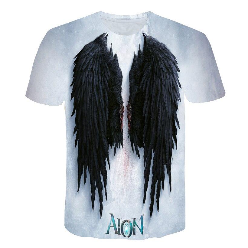 2019 New Fashion Angel Wing T-shirt Men T-shirt Funny Funny 3D Printed T-shirt Hip Hop Men Summer Street Clothing