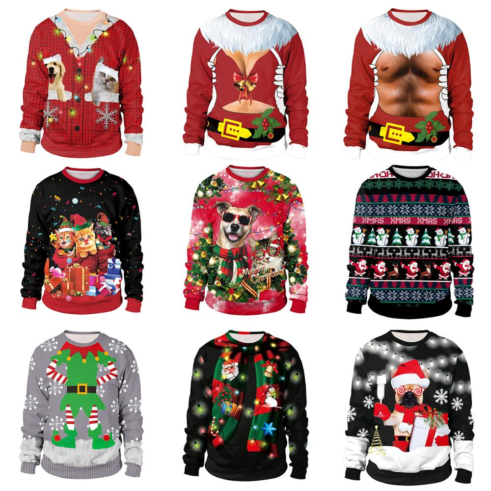 2020 New Year Women's Christmas Unisex Mens Sweater Fashion Female Sweater Long Sleeve Xmas Deer Printed Pullover Tops Sweaters