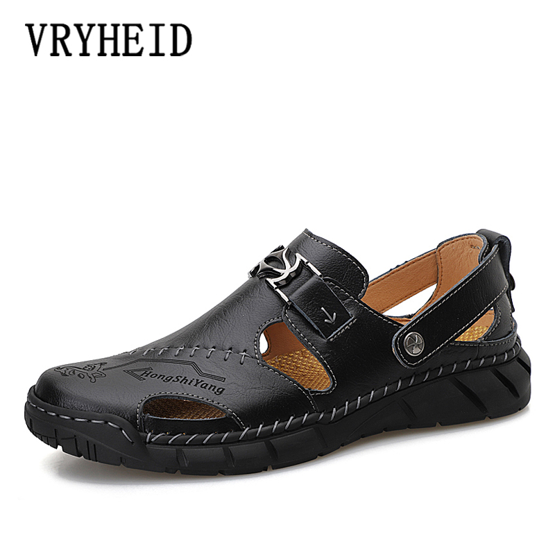 VRYHEID Big Size 38-50 New Summer Men Sandals 2020 Leisure Beach Men Casual Shoes High Quality Genuine Leather The Men's Sandals