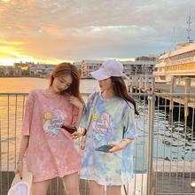 New Korean Women Fashion Tops Loose Summer Short Sleeve T-shirt Pink Blue Cartoon Dolphin Print Cute Youth Female Dress Clothes