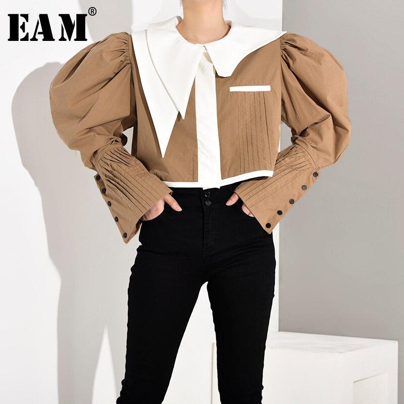 [EAM] Loose Fit Khaki Pleated Stitch Short Jacket New Lapel Long Sleeve Women Coat Fashion Tide Spring Autumn 2020 JY8510