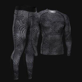 Men's suit Plus size underwear jogging base layer Fitness T-shirt leggings Quick-drying muscle shirt Compression Sportswear 4xl цена 2017