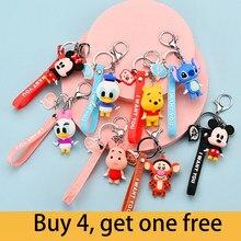 Disney porte-clés Mickey Minnie ourson point ours mignon dessin animé Figure poupée pour filles sac breloques voiture pendentif porte-clés