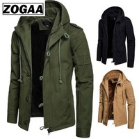 Zogaa Brand Men's Jacket Army Green Military Wide waisted Coat Casual Cotton Hooded Windbreaker Jackets Overcoat Male 2019 NEW