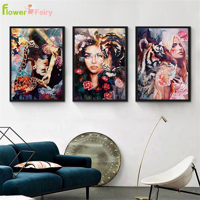 Watercolor Girl With Tiger Flowers Nordic Poster Wall Art Canvas Painting Picture Posters Pictures For Living Room Unframed