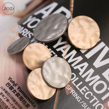 25mm Silver Gold Metal Buttons For Clothing Crafts Coat Garments Retro Cc Brand Women Button Decorative On Clothes Jeans Jacket high grade metal gold silver imitation pearl buttons jacket shirt metal buttons sweater coat overcoat button