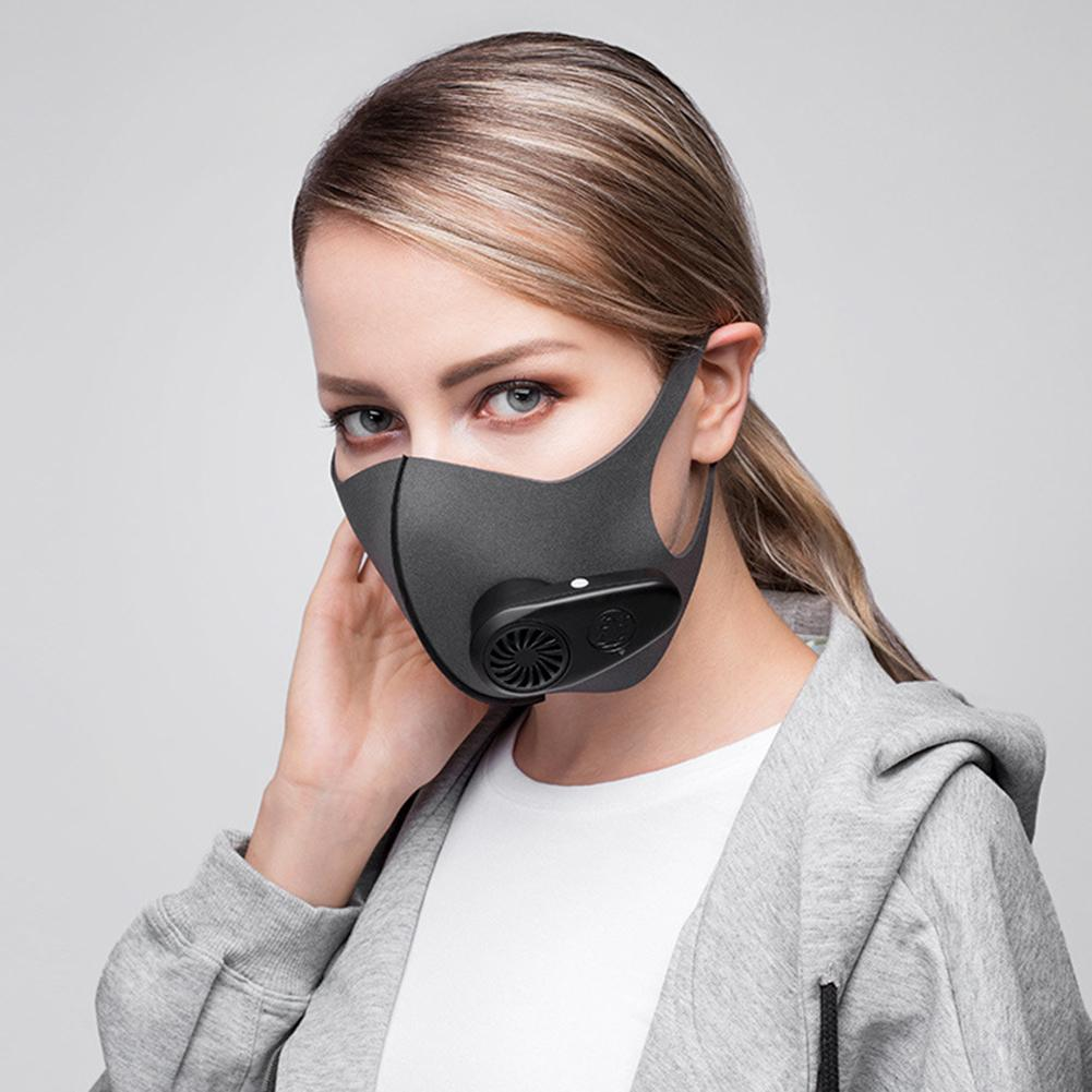 Reusable Electric PM2.5 Dust Proof Anti Haze Sports Mouth Mask with Breather Valves Windproof, dustproof and anti-spitting