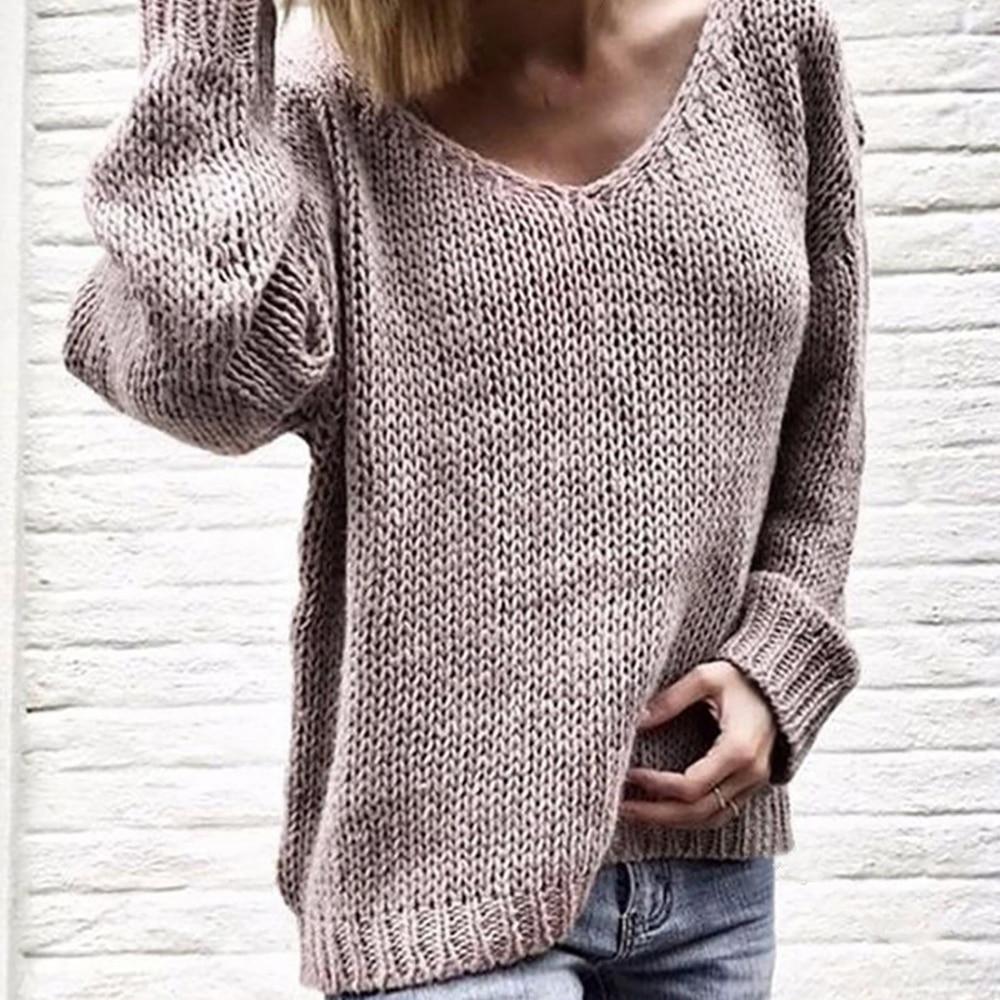 Женские однотонные свитера с v-образным вырезом, свободные вязаные пуловеры на осень и зиму, повседневные Пуловеры большого размера, 2019