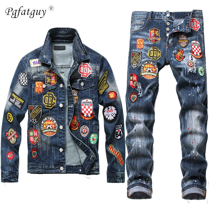 2020 Persoonlijkheid Badge Jas Jeans 2 Delige Set Mannen Retro Reppied Slanke Denim Jas + Gat Multi-Badge stretch Jeans 2 Stuks Sets