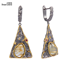 DreamCarnival1989 New Arrivals Exaggerated Pyramid Look Women Earrings Water Melon Cubic Zircon Jewelry Black Gold Color WE3998