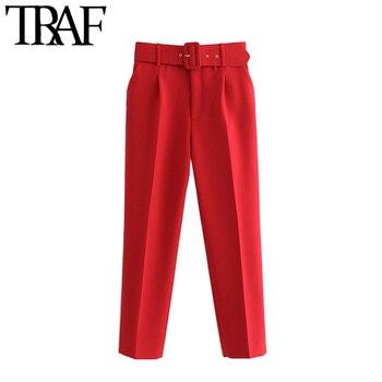 TRAF-pantalones de cintura alta con cinturón para Mujer, pantalón Vintage con bolsillos y cremallera, para oficina