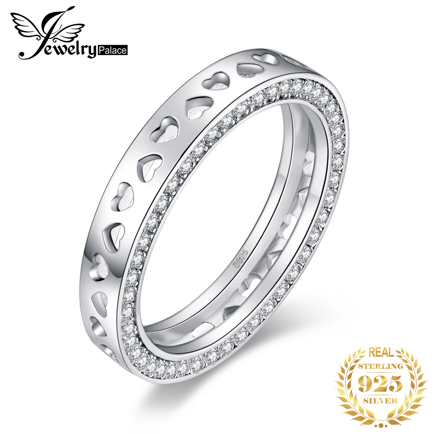 JPalace I Love You Moon Back Wedding Rings 925 Sterling Silver Rings For Women Anniversary Ring Eternity Band Silver 925 Jewelry
