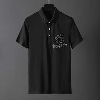 2020ss men's polo shirt fashion letter embroidery Lapel short sleeve shirt trend pearl cotton European and American station