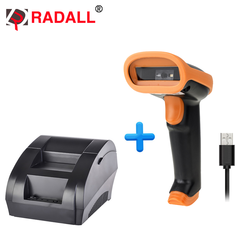 RD-5890K 58mm Thermal Receipt Printer And RD-S1 Laser Barcode Scanner For Supermarket POS Machine  Wired Thermal Printer