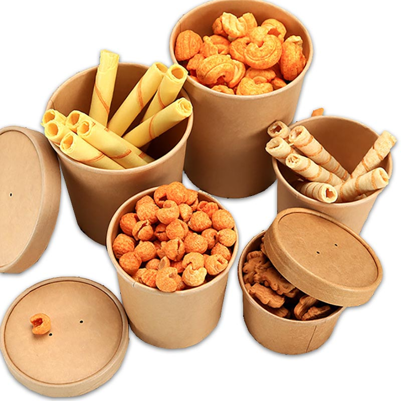 50pcs/pack Large Capacity Disposable Kraft Paper Bowl With Paper Lid Eco Takeaway Food Fruit Package Paper Cup Thick Paper Box