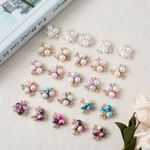 Cabochões liga de cristal strass e acrílico, 50 peças imitação de pérola cor mista flor 19.5x19.5x8.5mm 5 cores 10 pçs/cor