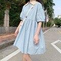 Милое платье в японском стиле академии, Милая женская мини-юбка трапециевидной формы с вышивкой медведя из мультфильма и пушистыми рукавам...