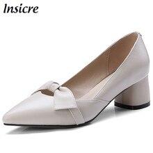 Insicre/модная обувь из натуральной кожи; женские туфли-лодочки на высоком каблуке; удобная классическая женская обувь на высоком квадратном каблуке; размеры 33-40