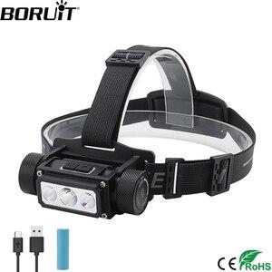 Image 1 - BORUiT B39 XM L2 + 2 * XP G2 LED Scheinwerfer Max.5000LM Wasserdichte Leistungsstarke Scheinwerfer TYPE C Wiederaufladbare 21700 Kopf Taschenlampe für Camping