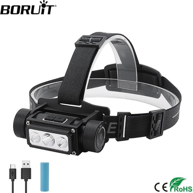BORUiT B39 XM L2 + 2 * XP G2 LED Scheinwerfer Max.5000LM Wasserdichte Leistungsstarke Scheinwerfer TYPE C Wiederaufladbare 21700 Kopf Taschenlampe für Camping