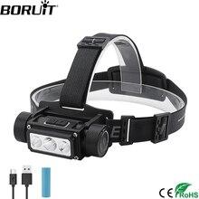 BORUiT B39 XM L2 + 2 * XP G2 lampa czołowa LED Max.5000LM wodoodporna potężny doprowadziły reflektorów TYPE C akumulator 21700 głowy latarka kempingowa