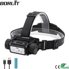 Boruit B39 XM L2 + 2 * XP G2 ledヘッドランプMax.5000LM防水強力なヘッドライトTYPE C充電式21700ヘッドトーチキャンプ