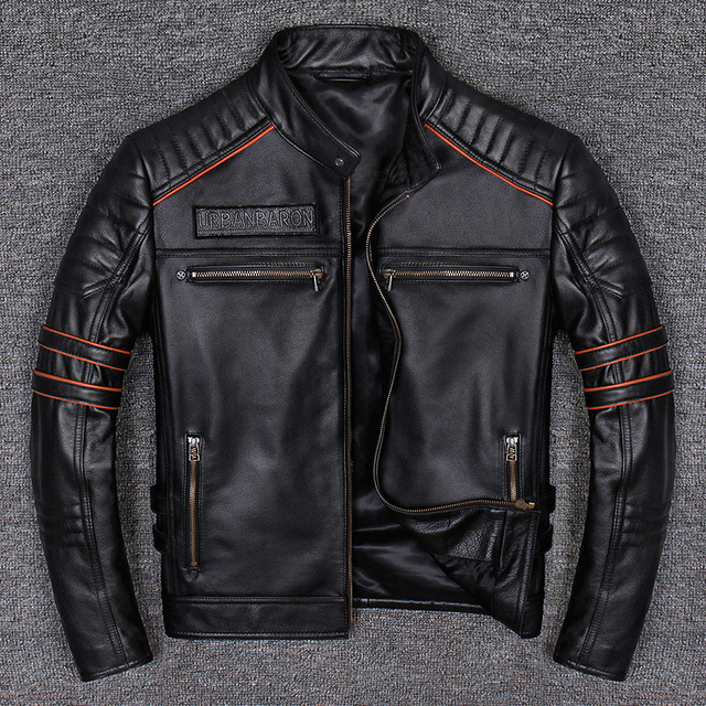 Spring Autumn Genuine Leather Jacket Men Embroidered Skull Casual Motorcycle Jacket Chaquetas Hombre Clothes Korean 2021 WPY2482 2