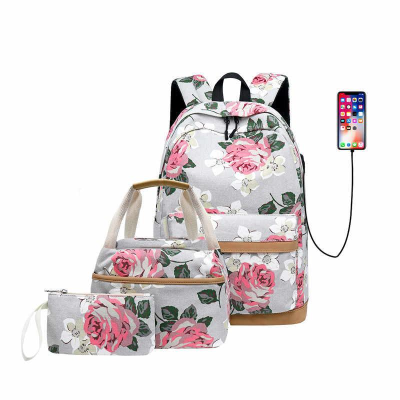 FengDong 3 шт./компл. цветок в Корейском стиле холст детский школьный рюкзак Цветочные книги сумка набор школьные сумки для девочек-подростков рюкзак
